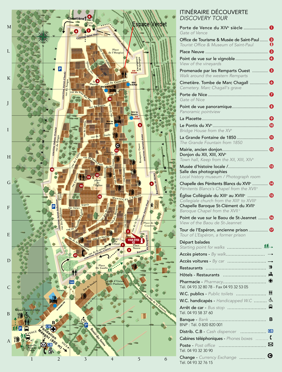 Plan du village saint paul de vence - Office de tourisme de saint paul de vence ...